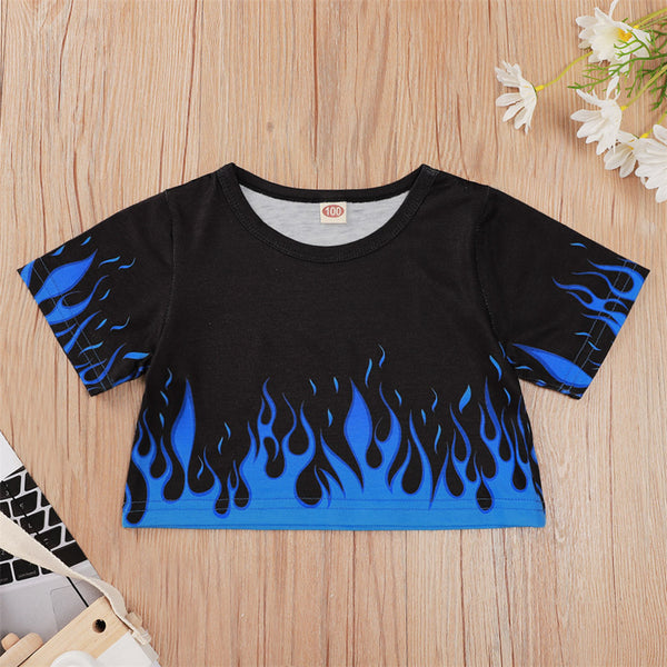 Boys Flame Printed Short Sleeve Fashion T-shirt wholesale children's boutique clothing suppliers usa
