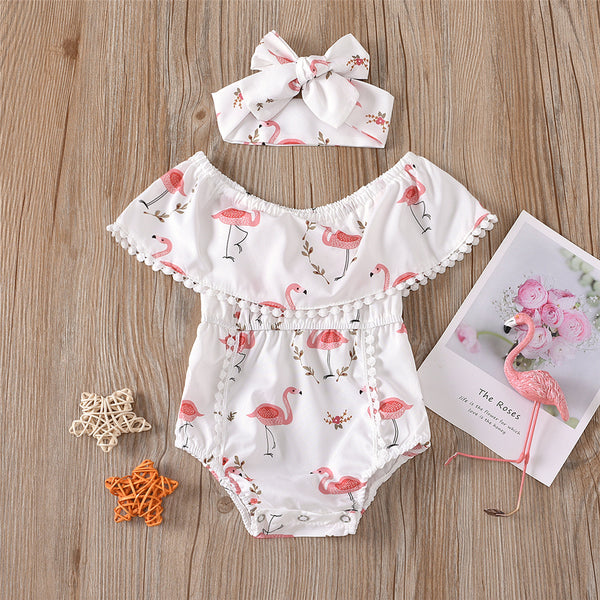 Baby Girls Flamingo Printed Lotus Collar Romper & Headband baby wholesale