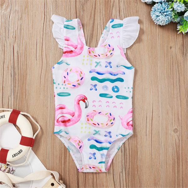 Baby Girls Flamingo Printed Tie Dye Swimwear Wholesale Plus Size Swim Wear
