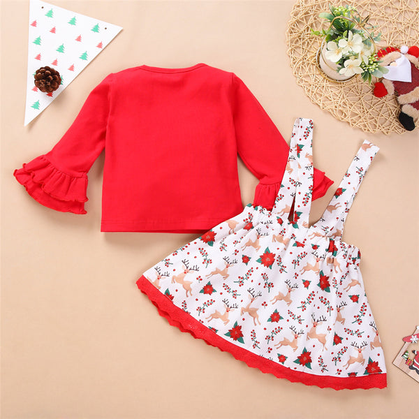 Toddler Girls Flare Sleeve Letter Top & Cartoon Suspender Skirt Wholesale
