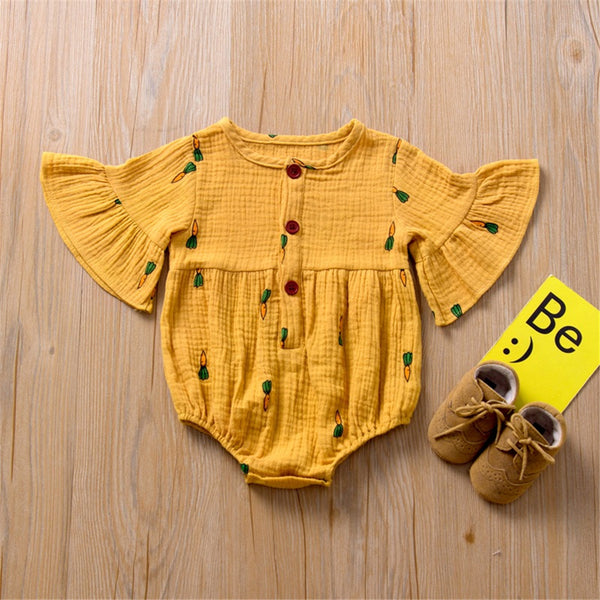 Baby Girls Flare Sleeve Pattern Printed Romper baby clothes wholesale usa