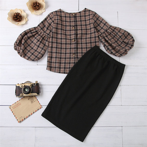 Girls Flare Sleeve Plaid Top & Solid Skirt Girls Clothes Wholesale