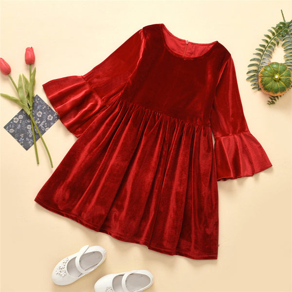 Girls Flare Sleeve Solid Color Casual Dress Girls Wholesale Clothes