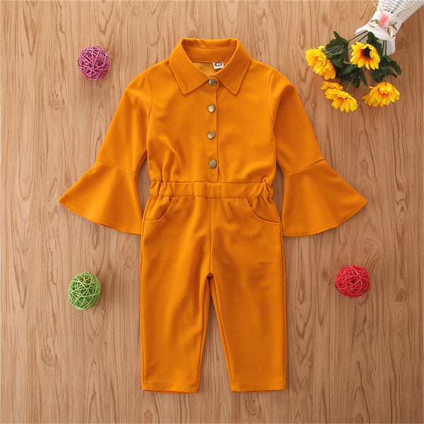 Toddler Girl Flare Sleeve Solid Lapel Jumpsuit Wholesale Girl Clothing