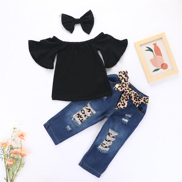 Girls Flared Sleeve Black Top & Leopard Jeans & Headband Girls Wholesale Clothes
