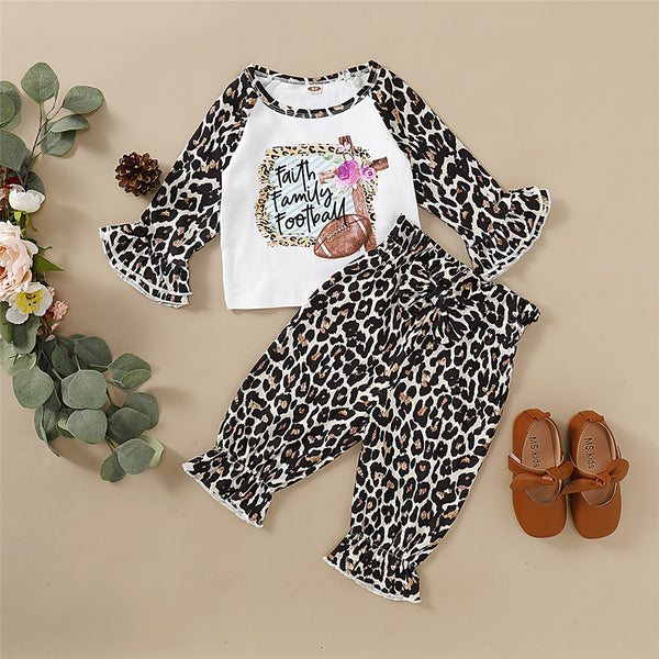 Girls Flared Sleeve Letter Leopard Printed Tops & Trousers