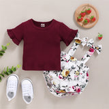 Baby Girls Flared Sleeve Solid Top & Floral Romper & Headband Baby Clothing Cheap Wholesale