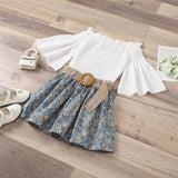 Girls Flared Sleeve White Top & Floral Printed Belt Skirt Wholesale Girl Clothing