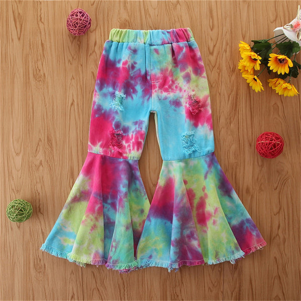 Girls Flared Tie Dye Elastic Waist Trousers Wholesale