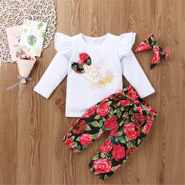 Baby Girl Floral Bow Letter Printed Long Sleeve Top & Pants Wholesalebaby