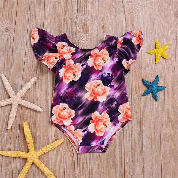 Girls Floral Cartoon Printed Flying Sleeve Swimwear Toddler One Piece Swimsuit