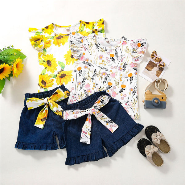 Girls Floral Flying Sleeve Top & Shorts baby clothes wholesale distributors