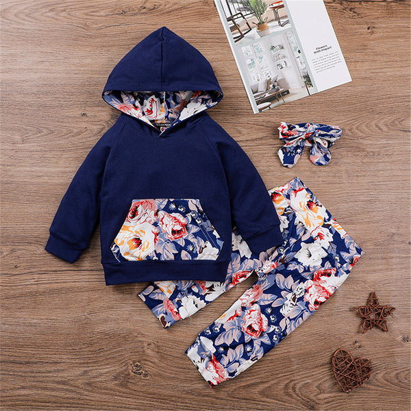 Baby Girls Floral Hooded Top & Pants & Headband Baby Wholesale Suppliers