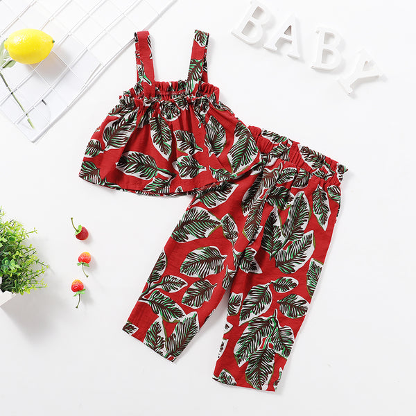 Girls Floral Leaf Printed Sling Top & Pants kids clothing vendors