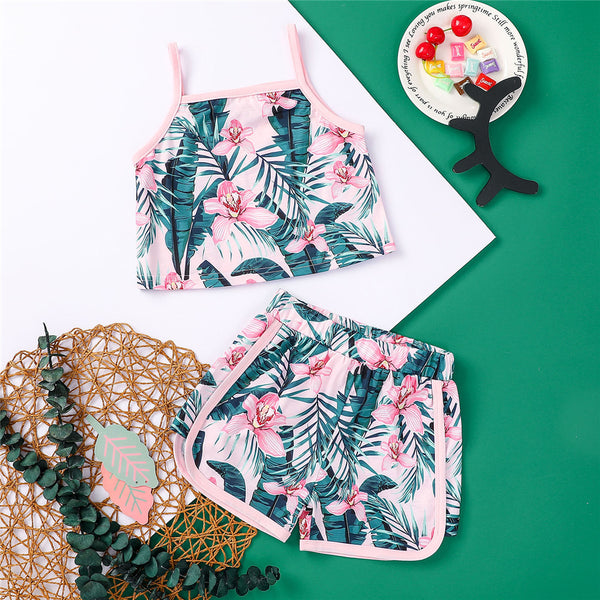 Girls Floral Leaves Printed Pink Sling Top & Shorts kids clothes wholesale