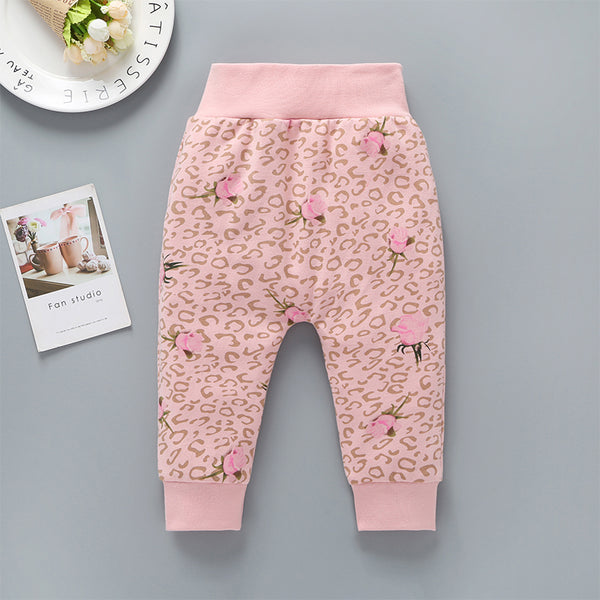 Baby Girls Floral Leopard Print High Waist Pants