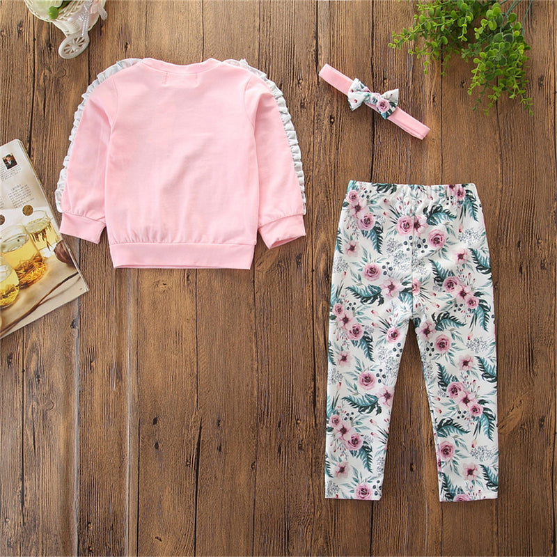 Girls Floral Letter Printed Bow Decor Tops & Pants & Headband Wholesale