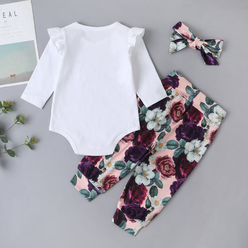 Baby Girls Floral Letter Printed Long Sleeve Romper & Pants