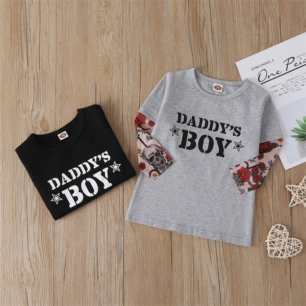 Toddler Boys Floral Letter Printed Long Sleeve Tops Boy Clothes Wholesale