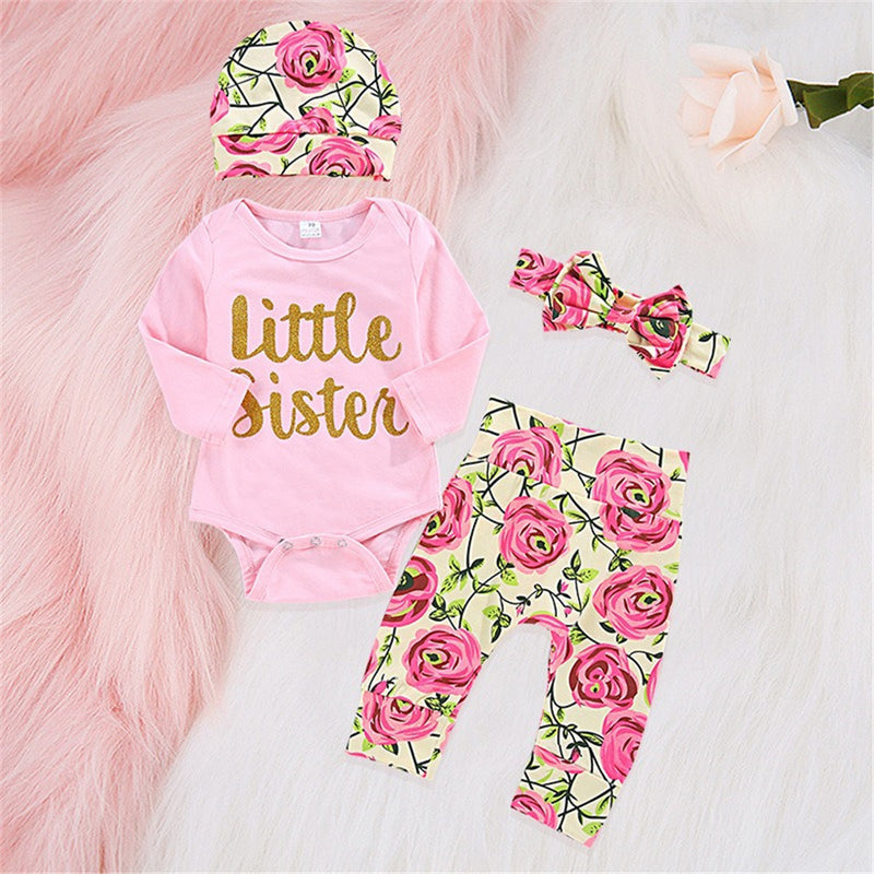 Baby Girls Floral Letter Printed Romper & Pants & Hat