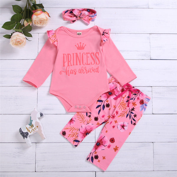 Baby Girls Floral Letter Printed Romper & Pants & Headband Baby Outfits