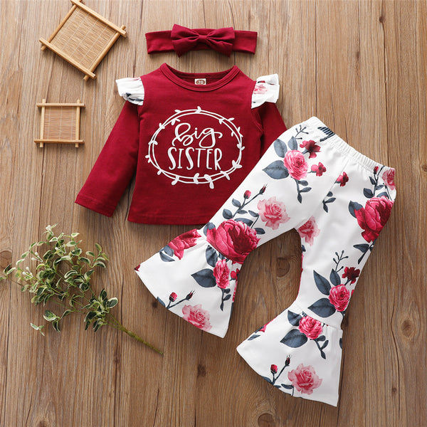 Baby Girls Floral Letter Printed Top & Bell Bottoms & Headband Baby Wholesale