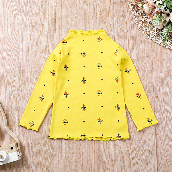 Girls Floral Long Sleeve Pullover Turtleneck Top Toddler Girls Wholesale