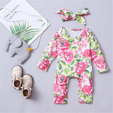 Baby Girls Floral Long Sleeve Romper & Headband