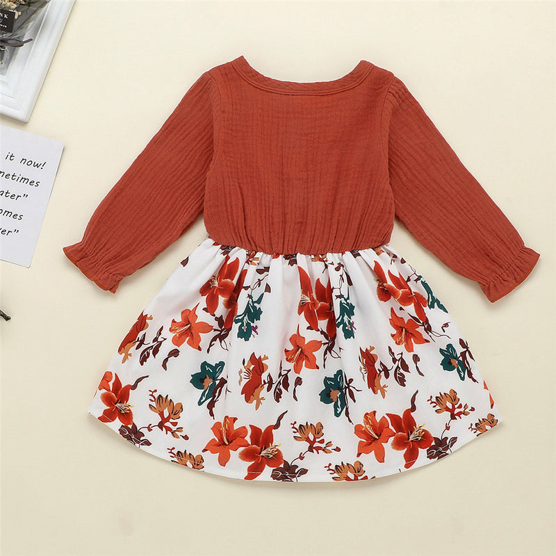 Girls Floral Long Sleeve Solid Sweet Dress