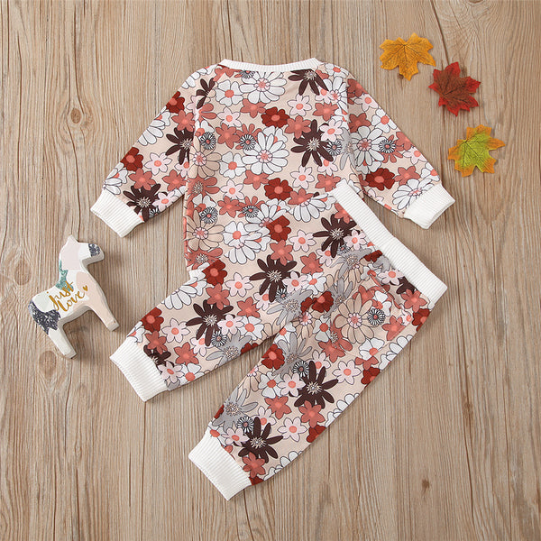 Toddler Girls Floral Long Sleeve Top & Pants Kids Wholesale Clothing