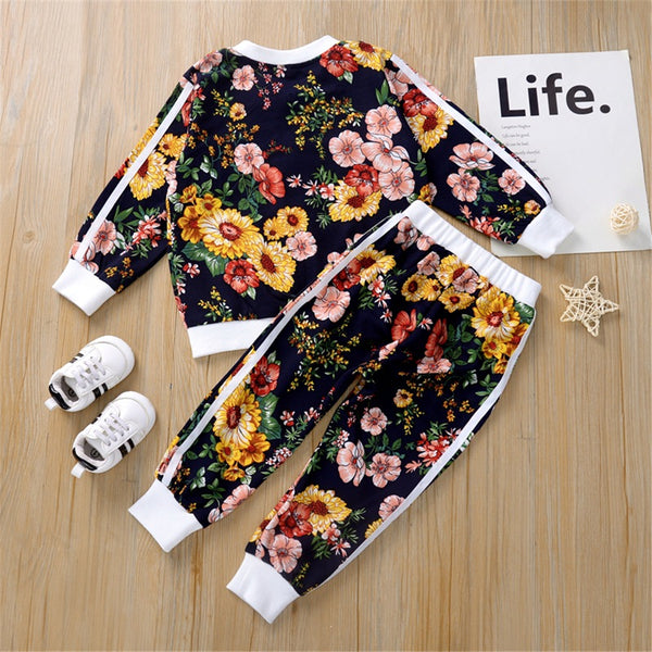 Toddler Girls Floral Long Sleeve Zipper Jacket & Pants Girl Wholesale