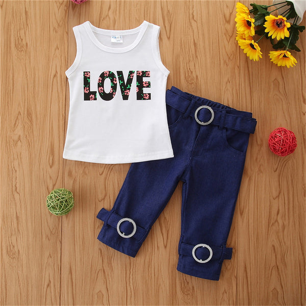 Girls Floral Love Printed Sleeveless Top & Jeans wholesale childrens clothing online