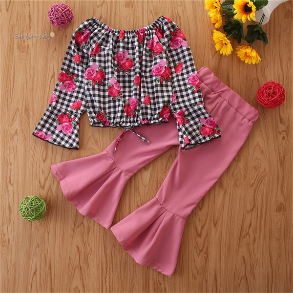 Toddler Girls Floral Plaid Top & Flared Trousers Wholesale Girl Clothing