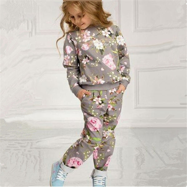 Toddler Girls Floral Print Crew Neck Top & Pants Girls Clothing Wholesalers