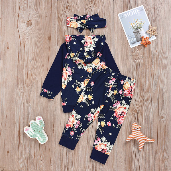 Baby Girls Floral Print Hooded Top & Pants & Headband Toddler Girls Wholesale