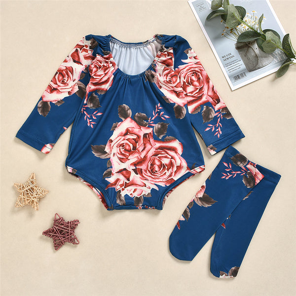 Baby Girls Floral Print Long Sleeve Romper & Socks Wholesale Baby Clothes