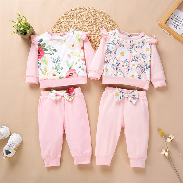 Baby Girls Floral Print Long Sleeve Top & Bow Pants Babywear Wholesale