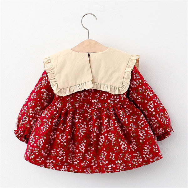 Girls Floral Printed Bow Long Sleeve Sweet Dress Baby Girl Wholesale