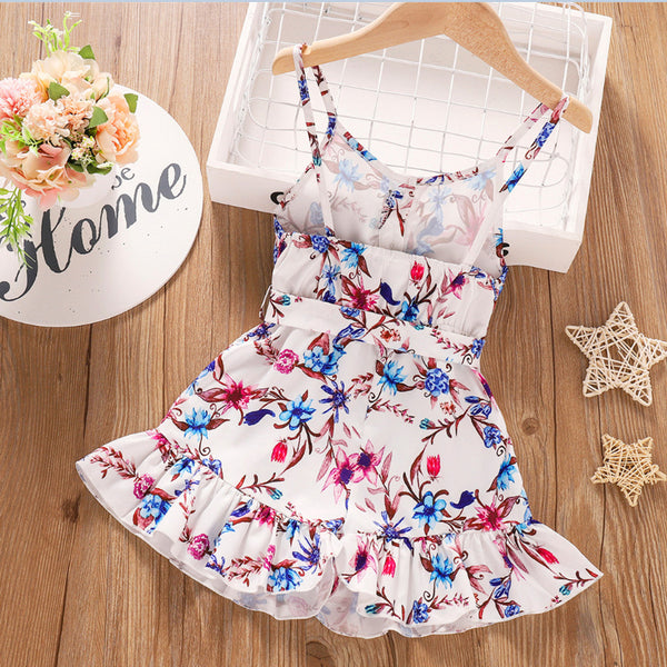 Girls Floral Printed Bow Sling Dress kids wholesale clothing