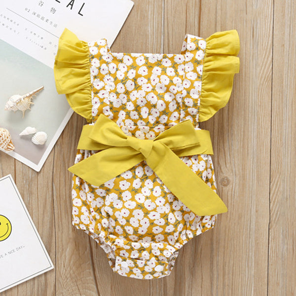 Baby Girls Floral Printed Bowknot Bandage Romper wholesale boy boutique clothes