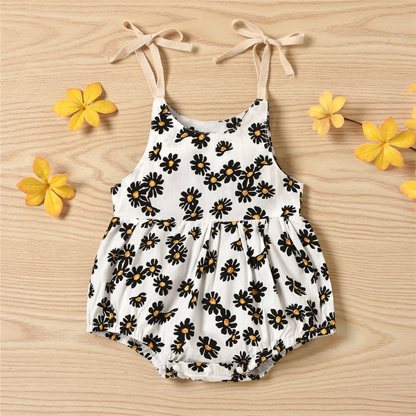 Baby Girls Floral Printed Casual Suspender Romper baby clothes wholesale