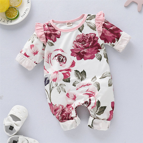Baby Girls Floral Printed Cotton Long Sleeve Romper Baby Wholesales