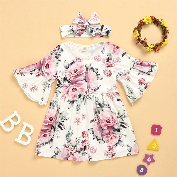 Girls Floral Printed Flared Sleeve Princess Dress & Headband