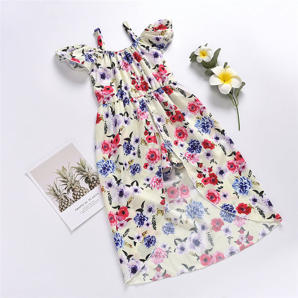 Girls Floral Printed Flying Sleeve Dress wholesale kids boutique clothing