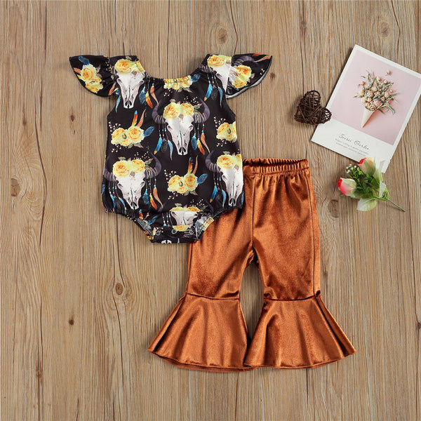Baby Girls Floral Printed Flying Sleeve Romper & Solid Bell Trousers cheap baby clothes wholesale