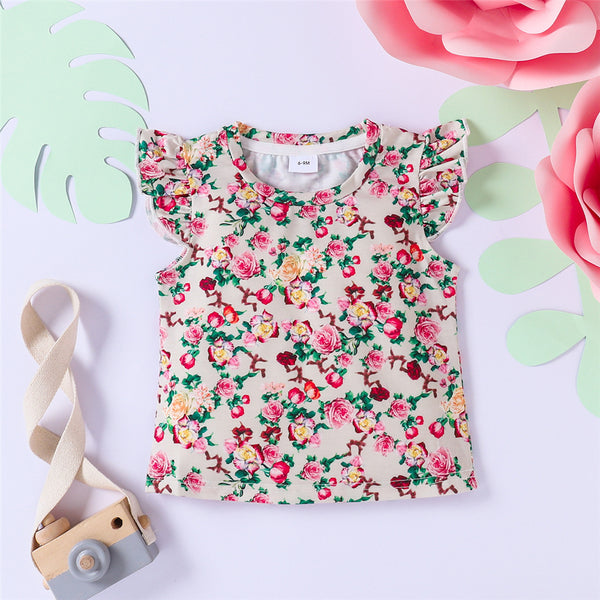 Baby Girls Floral Printed Flying Sleeve T-shirt Cheap Boutique Baby Clothing