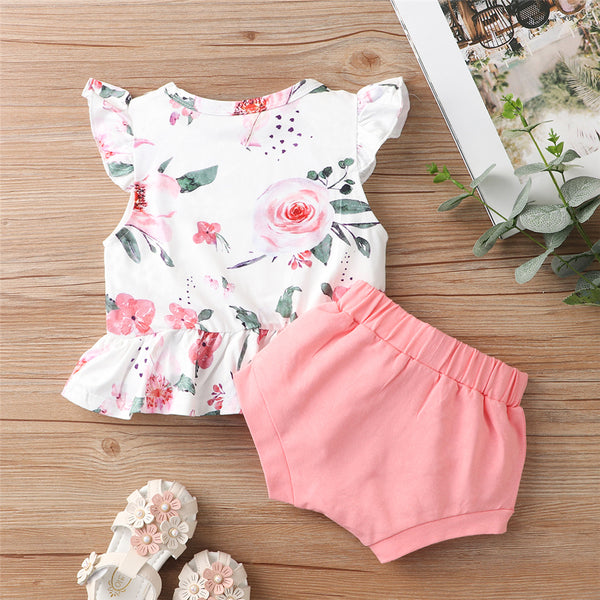 Baby Girls Floral Printed Flying Sleeve Top & Solid Shortsbaby clothes vendors