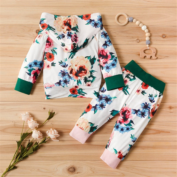 Baby Girls Floral Printed Hooded Long Sleeve Top & Pants Wholesale Baby