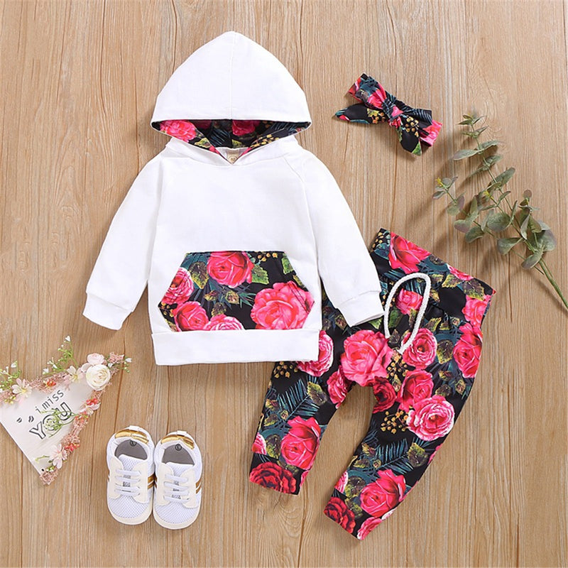Baby Girls Floral Printed Hooded Long Sleeve Tracksuit Baby Wholesale