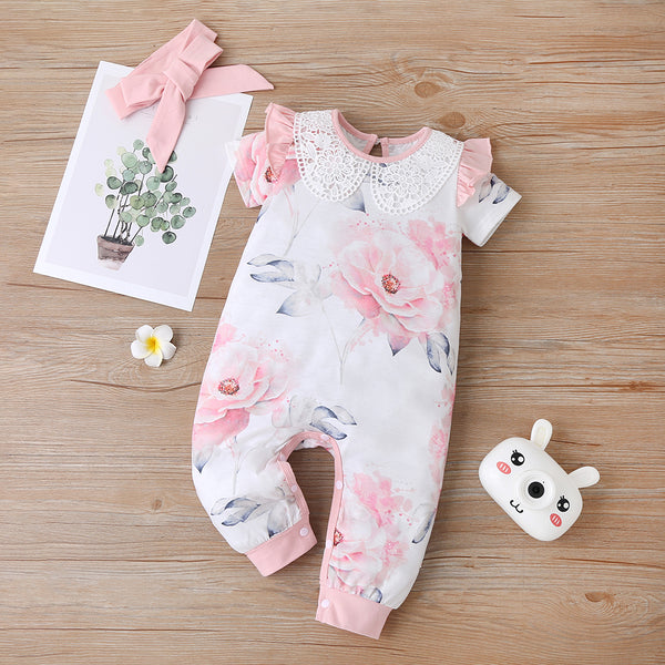 Baby Girls Floral Printed Lace Collar Short Sleeve Romper & Headband cheap baby clothes wholesale